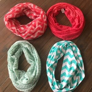 Four OS chevron & knitted infinity scarves